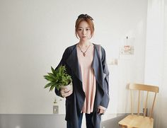 SaeA Eom - Flower Patterned Hairband, Basic Cotton Top, Drape Cardigan, Denim Jean, Plant - Matilda, leon