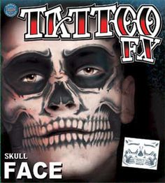 Skull Full Face Temporary Tattoo