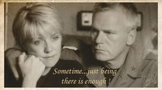 Jack conforts Sam for the death of her father . #stargate sg-1 # jack o'neill # samantha carter # richard dean anderson # amanda tapping