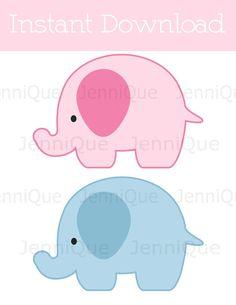 Elefante azul y rosa para imprimir corta Outs, elefante género revelan fiesta decoración, decoración del partido de los gemelos elefante, fiesta imprimibles, #EC07