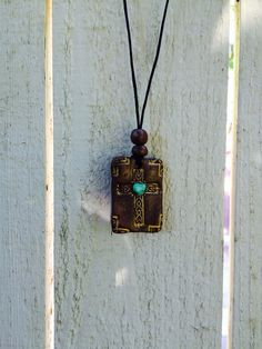 Mexican Tile Cross Pendant Stamped clay necklace by GospelHymns