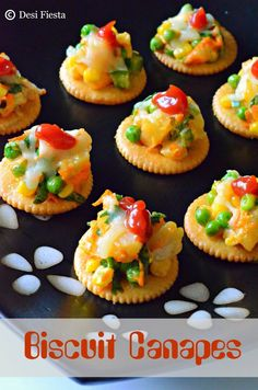As a kid I used to love having monaco and krack jack biscuits a lot and mom used to make me some canapes with these biscuits for evening sn. Sloppy Joe, Canapes Recipes, Appetizer Recipes, Party Recipes, Snack Recipes, Dinner Recipes, Appetizer Ideas, Healthy Recipes, Crockpot Recipes