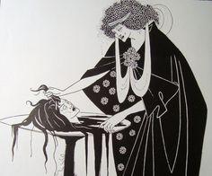 murder in illustration   Murder in Art Deco Style Aubrey Beardsley Vintage Illustration Number ...