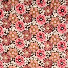 dark brown big flower corduroy fabric Timeless Treasures