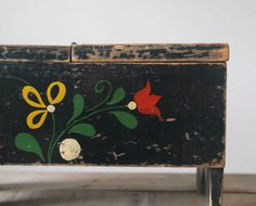 Vintage Folk Art Shoe Shine Box, Vintage Tole Work Box, Folk Art, Home Decor, on Etsy, $58.00