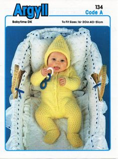 543b9de5968 baby all in one with hood knitting pattern pram set rompers babygrow  newborn - 16-20 inch DK baby knitting patterns pdf instant download