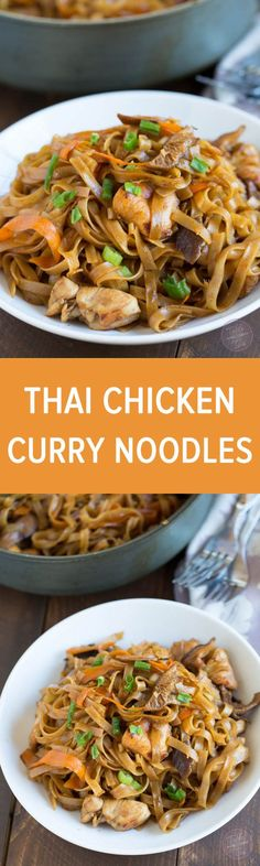chicken curry noodles is a fun Asian dish that is easy to put together and full of flavor!Thai chicken curry noodles is a fun Asian dish that is easy to put together and full of flavor! Indian Food Recipes, Asian Recipes, Healthy Recipes, Ethnic Recipes, Thai Curry Recipes, Thai Chicken Recipes, Healthy Breakfasts, Healthy Snacks, Curry Noodles