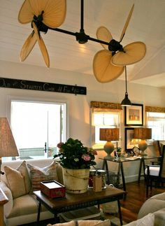 What ceiling height do we need? The Palisade Double Ceiling Fan adds to the British colonial flair of this beach house. The pitched ceiling allows for its large size, making the scale appropriate. Colonial Home Decor, British Colonial Decor, Style At Home, Double Ceiling Fan, Slanted Ceiling, Large Ceiling Fans, Unique Ceiling Fans, Architecture Design, Beach House Decor