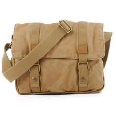 Men Casual Canvas Cowhide Big Crossbody Shoulder Bag