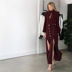 Shaik Set Style Mafia Shaik Set in burgundy. Top features princess sleeves and a teardrop scoop at chest with center back zipper closure. High-waisted skirt features gold button closure on the front and stud lined pockets and slits. Brand new with tag available in small, medium and large. Style Mafia Dresses Prom