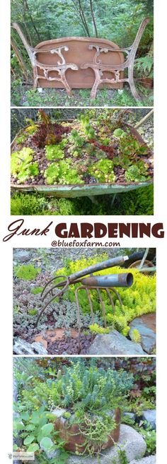 Junk Gardening - it's all about the history of the vintage stuff and displaying it with respect and dignity... Gardening | Rustic Garden Art