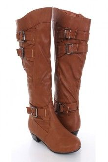 Tan Faux Leather Buckle Strapped Riding Boots
