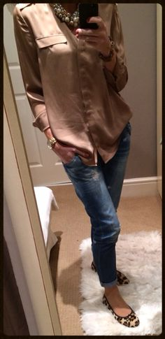 Leopard print ballet pumps, boyfriend jeans, pearls & camel silk top.