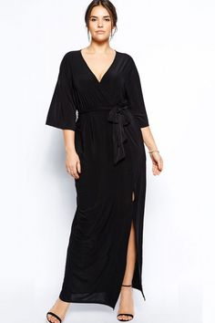 Belted Plus Size Long Dressing Gown US$23.14