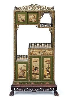 *A Green Ground Chinoiserie and Carved Mahogany Asymmetrical Display Cabinet,  Circa 1880   French