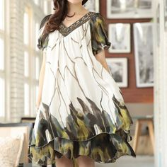 $16.64 Layered Loose-Fitting V-Neck Full Print Beaded Ruffled Casual Dress For Women