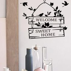 Art Vinyl Wall Stickers emovable Welcome Sweet Home Little Tree Sign Bedroom Living Room Decor