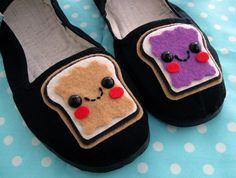 Peanut butter & jelly Mary Janes! Love them. (by em&sprout on Etsy)