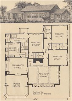 1916 Single-story Bungalow - Ladies Home Journal - Sylvanus B. Marston.  Such an unusual layout for that time!