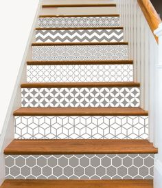 15steps Stair Riser Vinyl Strips Removable Sticker Peel & Stick : Geometrical Taupe by SnazzyDecal on Etsy https://www.etsy.com/ca/listing/276484682/15steps-stair-riser-vinyl-strips