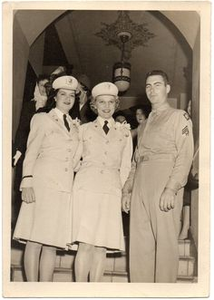 Two Army Nurses in beige summer service uniforms in company of sergeant (4th Army). Dated 14 September 1944 ~