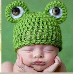 Frog baby knit crochet hat 3-6 months boy girl #Crocheted