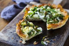 Courgette, spinach and pesto tart