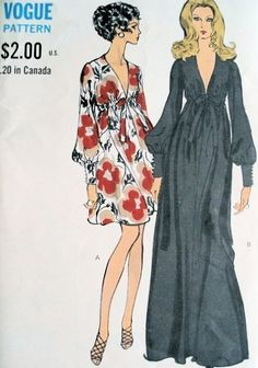 1960s Sexy Evening Party Dress Pattern Vogue 7630 Vintage Retro Style Empire High Waist, Plunging V Neckline Bust 32