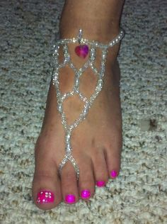 ~~~Handmade Barefoot Beaded Sandals~~~ :  wedding beach wedding beaded sandals bridesmaids destination wedding diy jewelry shoes Barefoot Beaded Sandals Pic 2
