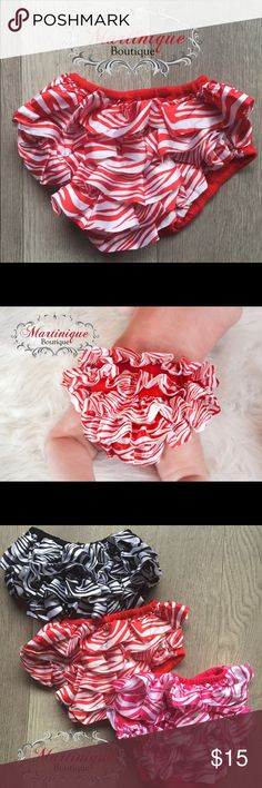 """Red Zebra Satin Diaper Cover One size fits most baby girls.  The measurements are provided below. •Waist stretches from 12""""-20"""". •The length from the waist to mid crotch is 6 1/2"""". •The leg holes stretch from 8""""-13"""". •We have a large selection of these bloomers in a variety of colors. Accessories Diaper Covers"""