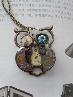 Mechanical owl pendant by soulcatcher06 on deviantart jewels jewellery cocktail necklace clockwork watch handmade necklace unique cool retro steam punk owl clock gear machinery mozeypictures Images