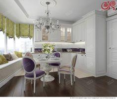 На фото – кухня-словая нетрадиционной формы с оливково-фиолетовыми акцентами в стиле ар-деко