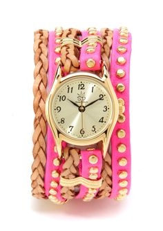Sara Designs Small Studded and Braided Leather Watch