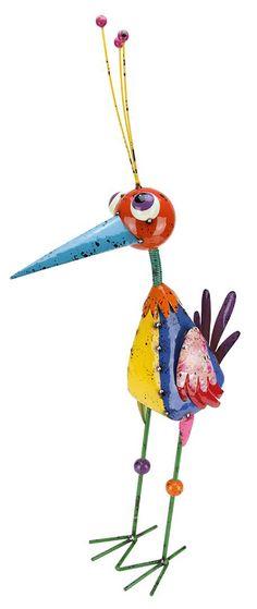 Speckled Metal Bird Figurine