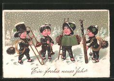 Alte Ansichtskarte: AK Ein frohes neues Jahr, Schornsteinfegerkapelle