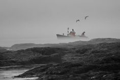 Foggy Maine Lobster Boat by Crowley Photos