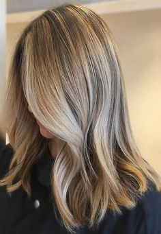 blonde highlights with dark root base