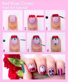 roses nail art #nails #nailart #skull #rose #tutorial #pretty visit   http://www.prettysquared.com/ for an easy tutorial