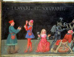 Codice Varia 124 : Les Tourments de l'Enfer pour les avares et les usuriers (c.157r.) Predis Christoro de (?-1486)