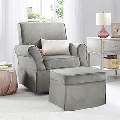 Amazon.com: Baby Relax The Kelcie Nursery Swivel Glider Chair and Ottoman Set, Grey: Kitchen & Dining