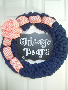 Chicago Bears Blue Burlap Wreath with Orange by ACottageCollection, $75.00