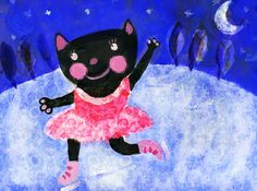Ice Skating Cat by Jenny Law