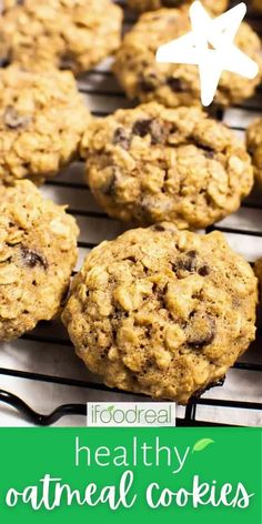 Healthy Oatmeal Cookies are soft, moist, chewy, and loaded with dark chocolate chips. Whip these healthy cookies in 30 minutes and enjoy warm right out of the oven! Instant Oatmeal Cookies, Healthy Oatmeal Cookies, Healthy Cookie Recipes, Oatmeal Cookie Recipes, Oatmeal Chocolate Chip Cookies, Healthy Desserts, Chocolate Chips, Dessert Recipes, Healthy Oatmeal Breakfast