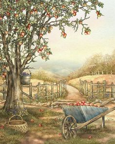 Carolina Afternoon by Beverly Levi-Parker ~ apple tree ~ watercolor mixed media Tree Watercolor Painting, Apple Painting, Fine Art Amerika, Decoupage, Arte Country, Creation Photo, All Art, Painting Inspiration, Art Drawings