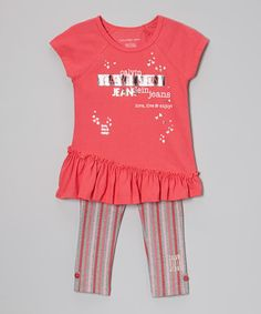 This Salmon Butterfly Tunic & Leggings - Infant, Toddler & Girls by Calvin Klein Jeans is perfect! #zulilyfinds