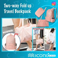 Two-way Fold up Travel Backpack Luggage Case, Carry On Luggage, Carry Bag, Duffel Bag, Backpack Bags, Lightweight Travel Backpack, Travel Tags, Folded Up, Travel Essentials