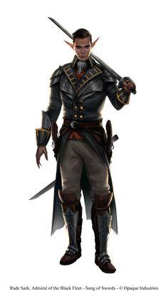 m High Elf Ranger Leather Cloak Sword hilvl Pirate Captain coastal river ship docks