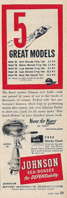 35 best vintage johnson outboard motor ads images on pinterest vintage outboard motor advertising johnson sea horse from popular science magazine june fandeluxe Image collections