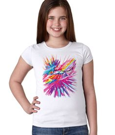 Joan Marie Colorful Whimsical Eagles Girls Super Soft Princess T-Shirt  Camisas 5074da0773031
