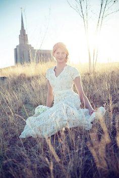 Ivory lace, white modest wedding dress :D
